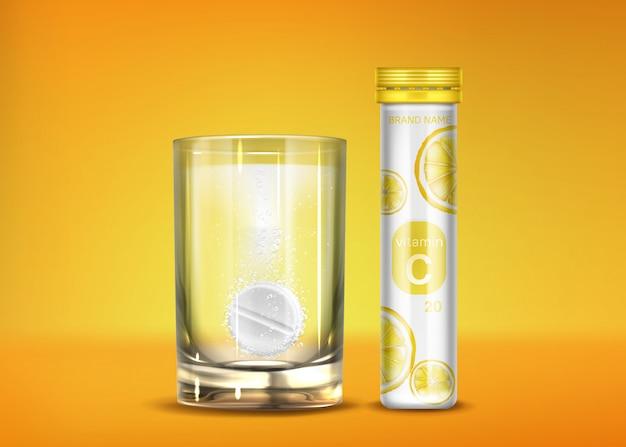 Comprimidos efervescentes de vitamina c com bolhas de gás Vetor grátis