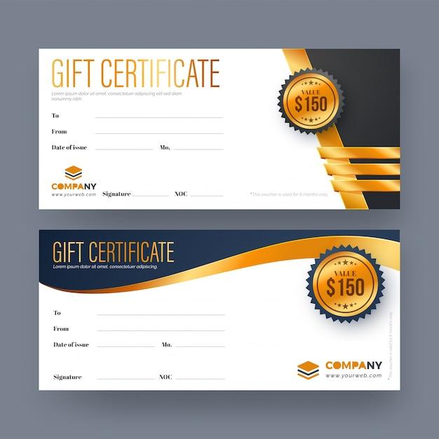 Comprovante de presente, certificado ou modelo de cartão de desconto. Vetor Premium
