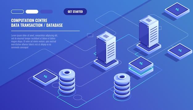 Computação de grande data center, processamento de informações, banco de dados Vetor grátis