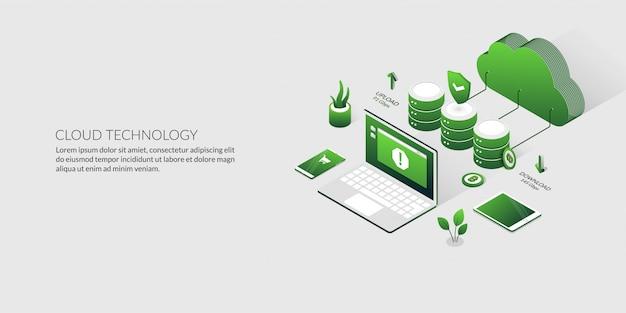 Computação em nuvem 3d e armazenamento de dados, tecnologia de servidor de hospedagem isométrica Vetor Premium
