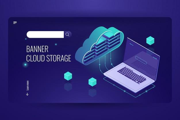 Computação em nuvem de banco de dados, ícone isométrico de transferência de dados de estoque de nuvem, laptop Vetor grátis