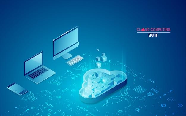 Computação em nuvem em isométrico Vetor Premium
