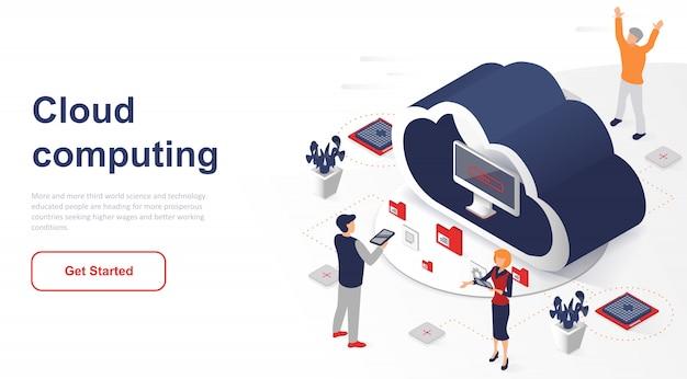 Computação em nuvem isométrica ou tecnologia da página de destino Vetor Premium