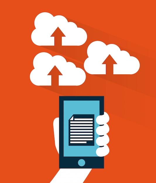 Computação em nuvem sobre ilustração vetorial de fundo laranja Vetor Premium