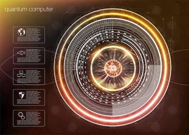 Computação quântica, algoritmos de big data, computação quântica, tecnologias de visualização de dados Vetor Premium