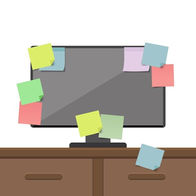 Computador cheio de cartões de lembrete. agenda, para fazer a lista. ilustração. Vetor Premium