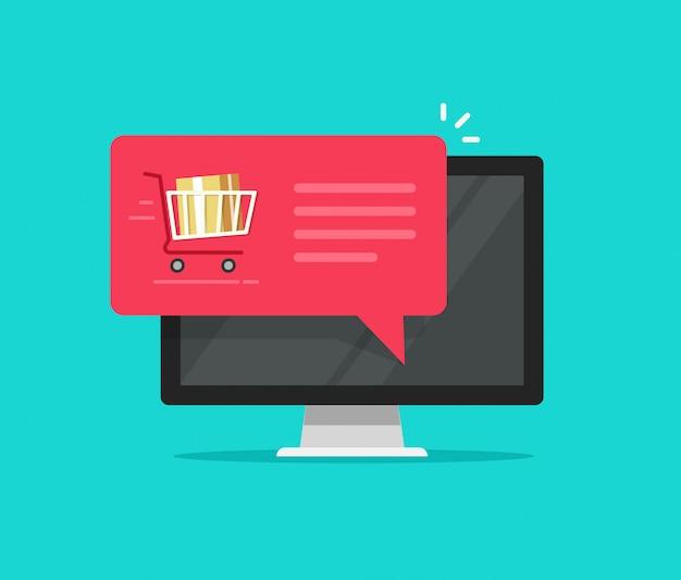Computador com notificação de bolha do discurso de carrinho de compras ou pedido on-line plana dos desenhos animados ícone vector Vetor Premium