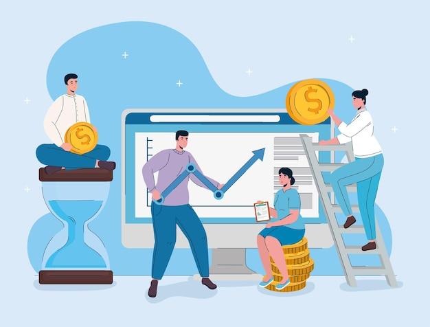 Computador desktop com homem levantando flecha de estatísticas e executivos Vetor Premium