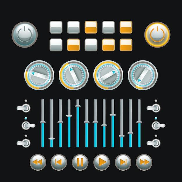Computador e botão de técnica analógica conjunto colorido Vetor grátis