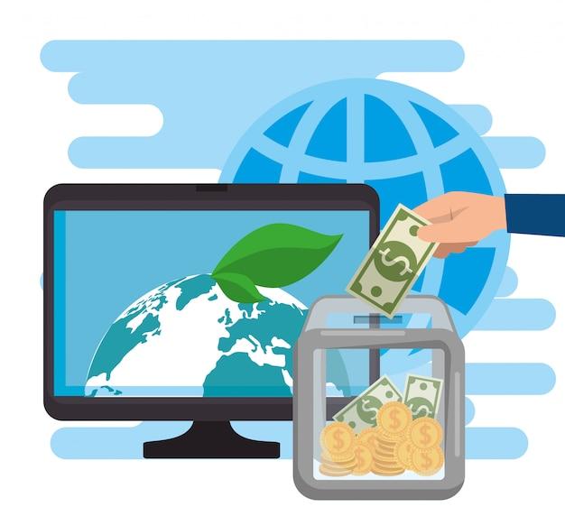Computador para doação de caridade online Vetor grátis