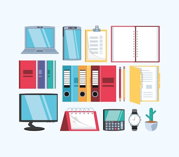 Computador portátil com escritório de suprimentos Vetor Premium