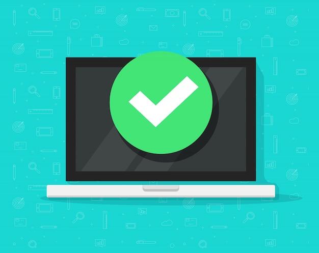 Computador portátil com marca de verificação ou notificação de visto Vetor Premium