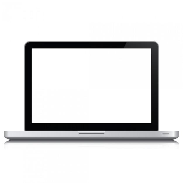 Computador portátil realista no estilo de maquete. laptop isolado em um fundo branco. Vetor Premium