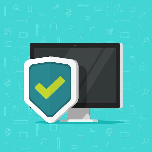 Computador protegido com escudo como ícone de tecnologia de segurança isolado desktop plana Vetor Premium