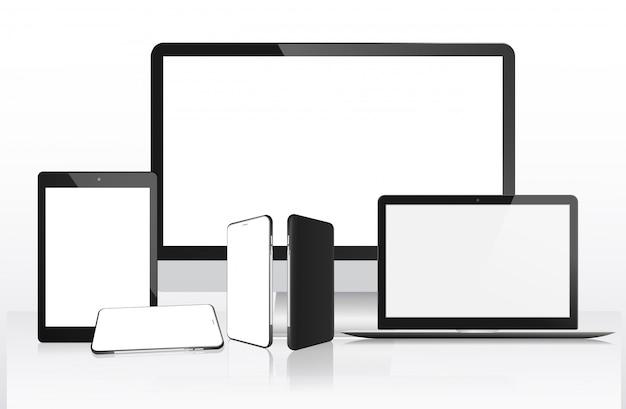 Computador realista, laptop, tablet e celular Vetor Premium