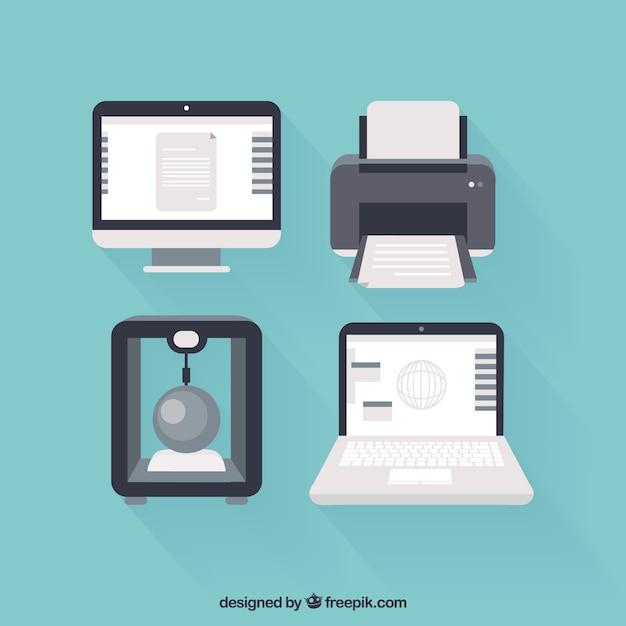 Computadores e impressoras ícones Vetor Premium