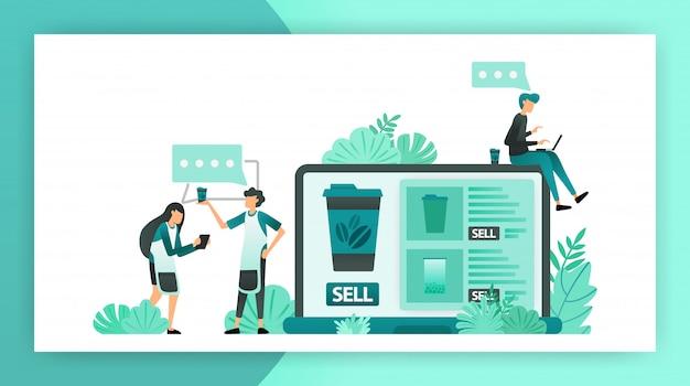 Comunicação à procura de ideias de lojas online para pequenas e médias empresas Vetor Premium