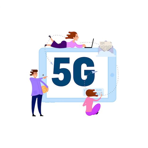 Comunicação de pessoas por conexão rápida wi-fi conceito 5g Vetor Premium