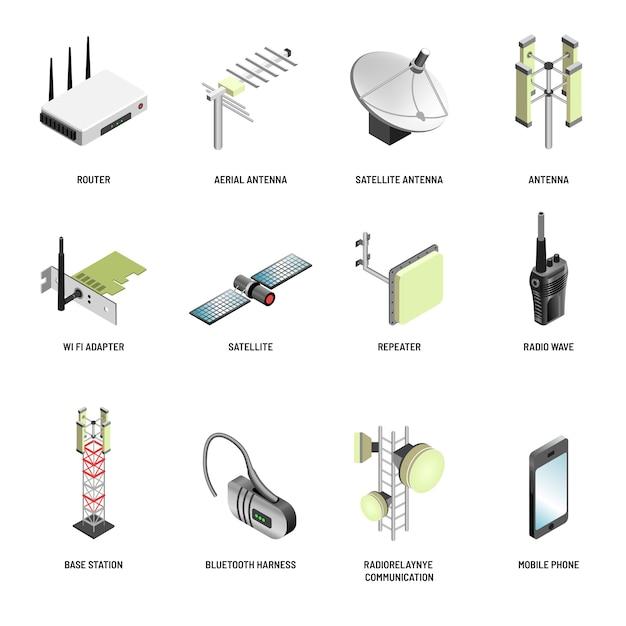 Comunicação digital e conexão de dispositivos modernos ícones isolados Vetor Premium