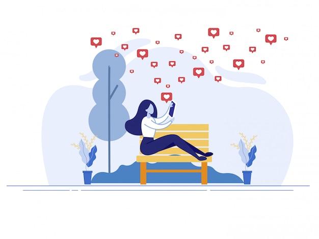 Comunicação e relacionamento romântico online Vetor Premium
