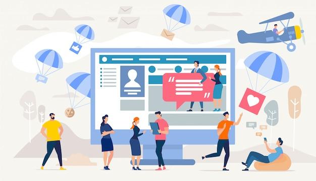 Comunicação em redes sociais, pesquisa de marketing digital Vetor Premium
