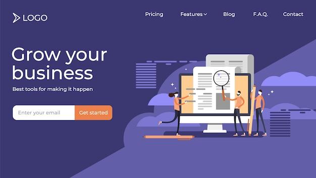 Comunicado de imprensa copywriting plana pequena pessoas vector ilustração vendas modelo de design de página de destino Vetor Premium