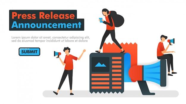 Comunicado de imprensa ilustração vetorial de anúncio Vetor Premium
