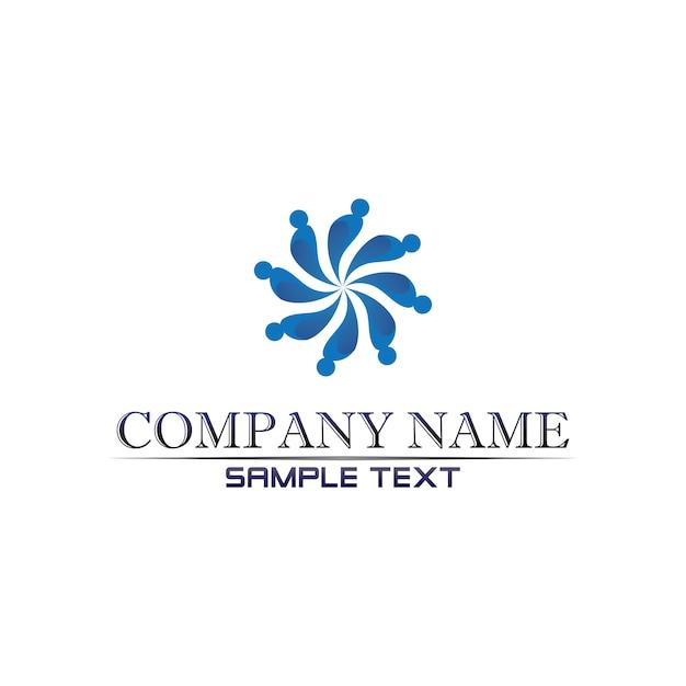 Comunidade cuidados logotipo pessoas no conceito de vetor de círculo Vetor Premium