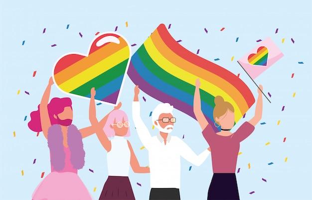 Comunidade de homens e mulheres com bandeiras de arco-íris Vetor Premium