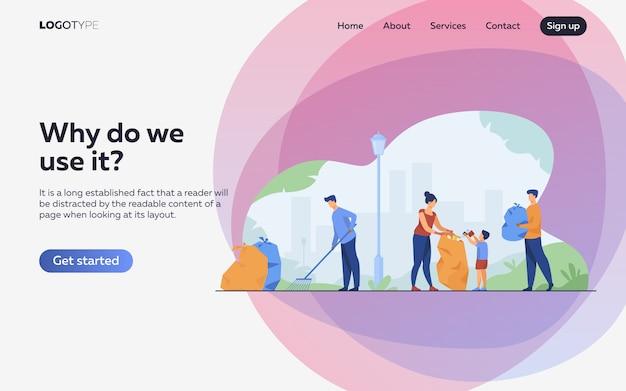 Comunidade de voluntários limpeza ilustração plana de lixo. página de destino ou modelo da web Vetor grátis