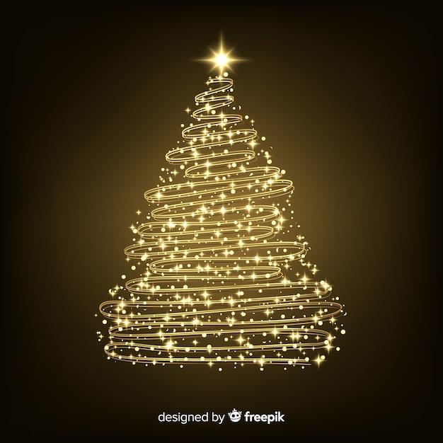 Conceito abstrato de árvore de natal dourada Vetor grátis