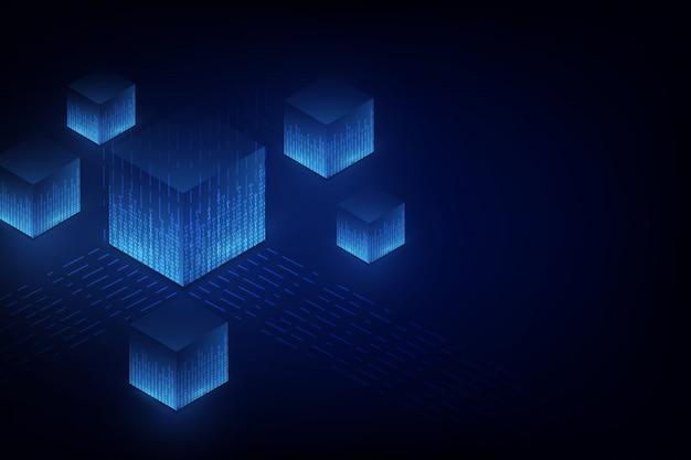 Conceito abstrato de blockchain de rede de circuito Vetor Premium