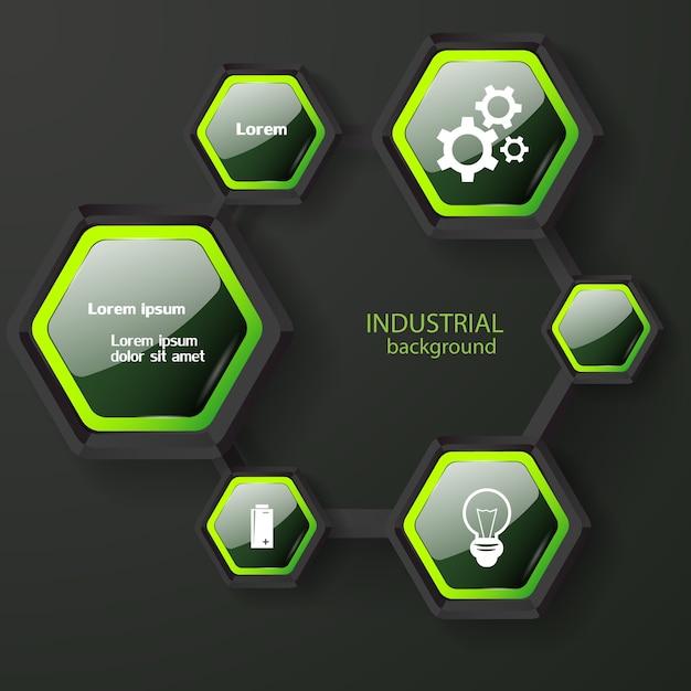 Conceito abstrato de infográfico com hexágonos escuros brilhantes com ícones e texto branco de borda verde Vetor grátis