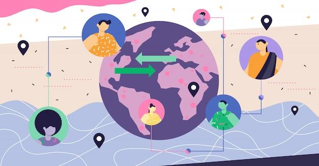 Conceito abstrato moderno de globalização Vetor Premium
