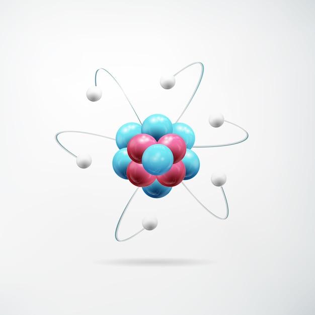 Conceito abstrato realista científico com modelo colorido de átomo na luz isolada Vetor grátis