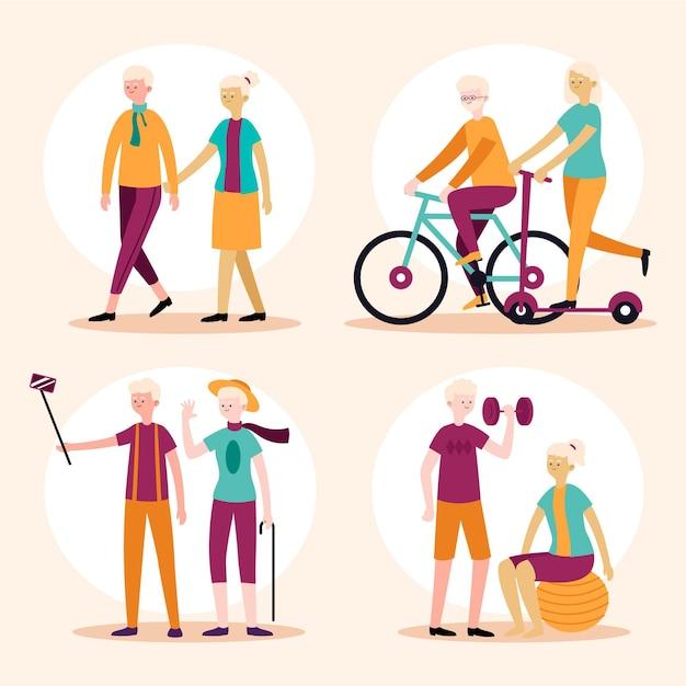 Conceito ativo de pessoas idosas Vetor grátis
