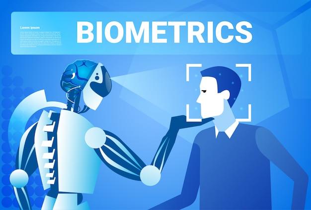 Conceito biométrico do sistema do reconhecimento da tecnologia do controlo de acessos da identificação da cara do robô Vetor Premium