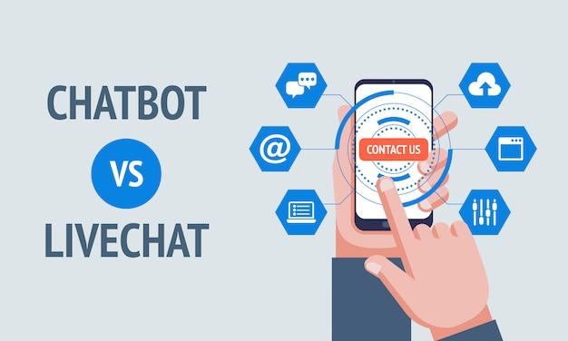 Conceito chatbot vs livechat. Vetor Premium