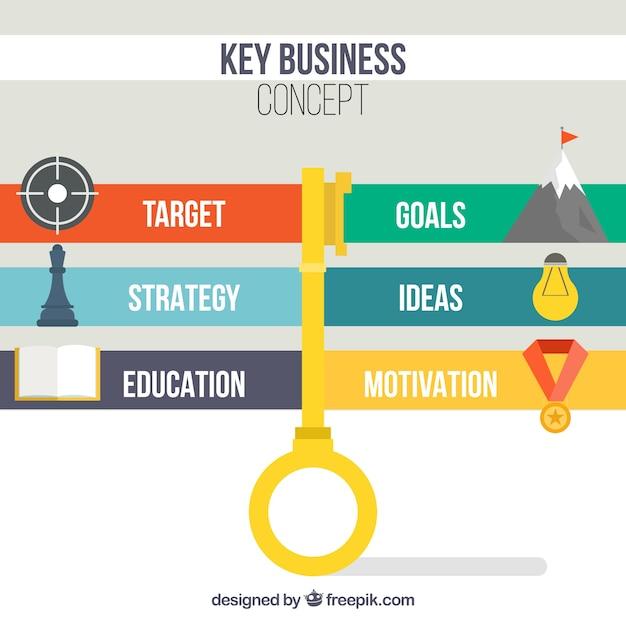 Conceito chave de negócios com design infográfico Vetor grátis