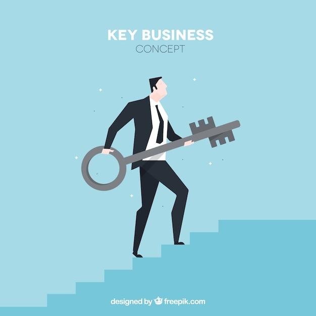 Conceito chave de negócios com design plano Vetor grátis