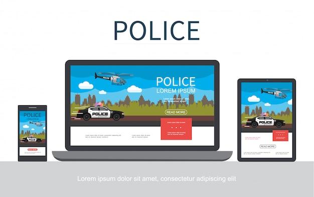 Conceito colorido da polícia plana com paisagem urbana voando helicóptero em movimento, adaptável para telas de tablet e laptop móveis isoladas Vetor grátis