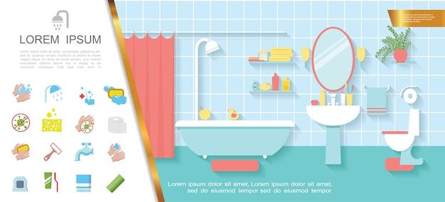 Conceito colorido de interior de banheiro plano Vetor grátis