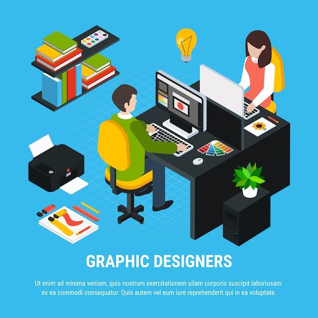 Conceito colorido isométrico de design gráfico com dois ilustrador ou designer trabalhando na ilustração em vetor 3d escritório Vetor grátis