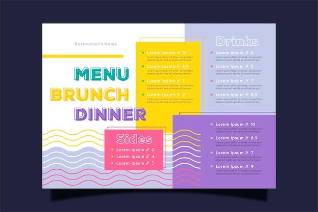 Conceito colorido para o modelo de menu de restaurante Vetor grátis