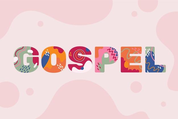 Conceito criativo da palavra gospel com formas abstratas Vetor Premium