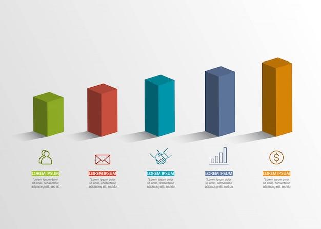 Conceito criativo de apresentação. infográfico de volume 3d. Vetor Premium