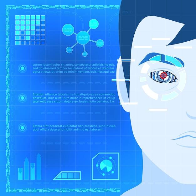 Conceito criativo de tecnologia de scanner de biometria do olho infográfico design com um cara cartooned, digitalizando seu olho para acesso sobre fundo azul. Vetor grátis