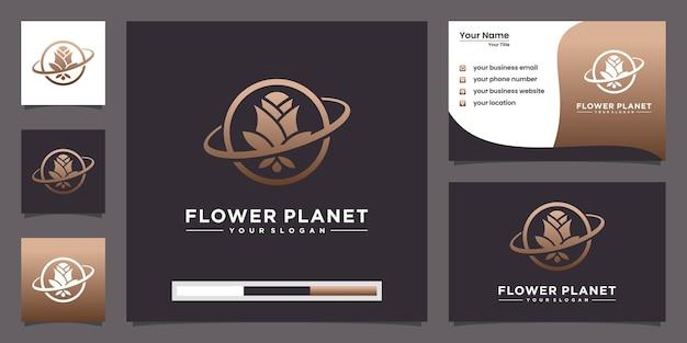 Conceito criativo do logotipo do planeta rosa e design de cartão de visita Vetor Premium