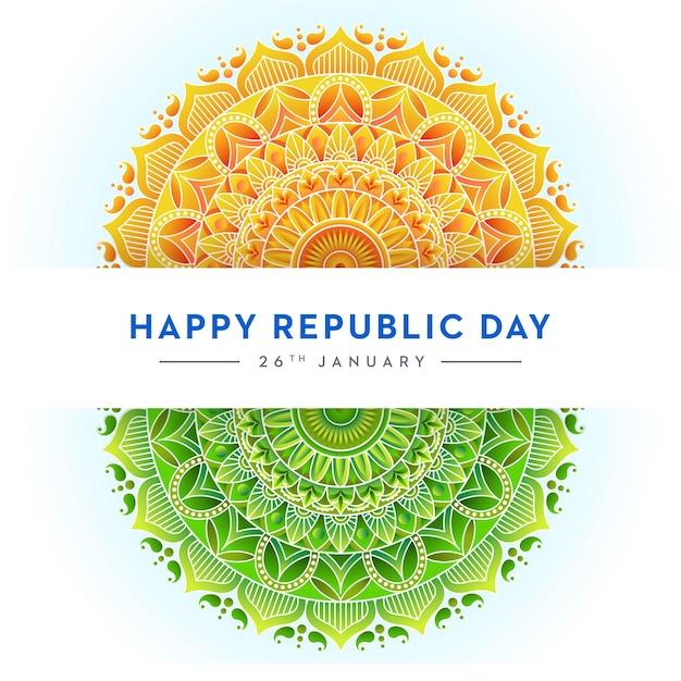 Conceito da bandeira indiana dia da república, trio de cores, mandala design Vetor Premium