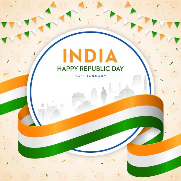 Conceito da bandeira indiana trio de cores do dia da república Vetor Premium